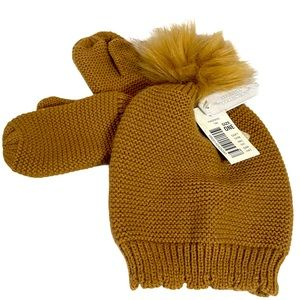 EDGEHILL COLLECTION baby girl faux fur hat mittens